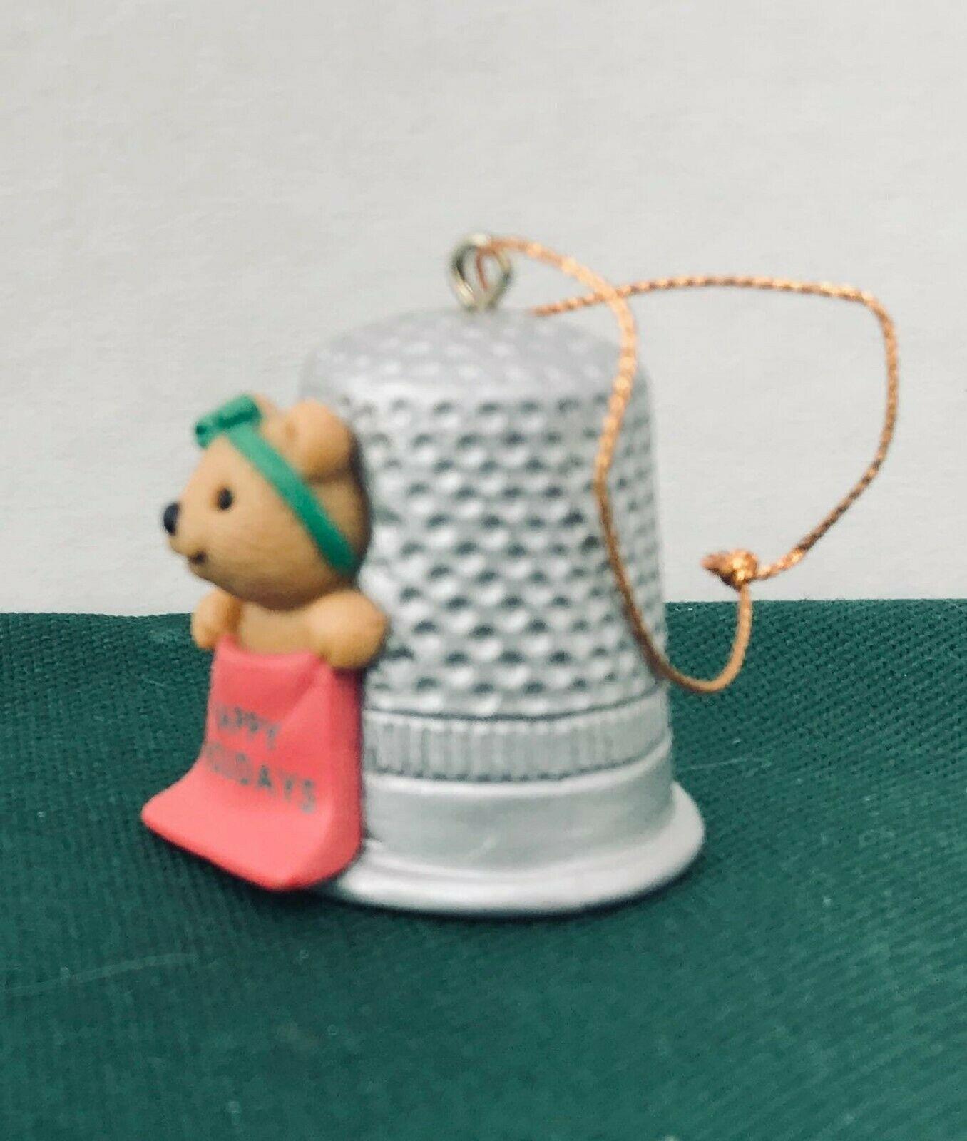 Avon Thimble Teddy Christmas Cute Ornament excellent condition