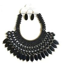 Bib Statement Choker Necklace Black Beaded Chunky Fashion Jewelry & Earrings Set - $14.84