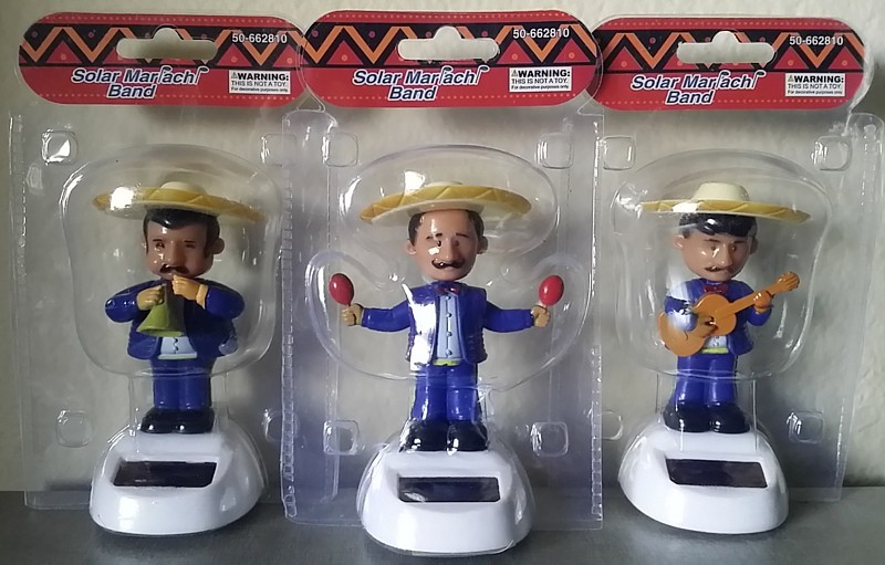 SET of 3 MARIACHI BAND SOLAR powered dashboard bobble men musician BLUE