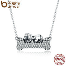 925 Sterling Silver Dog Doggy's Dream with Bone Pendant Necklaces - $12.55