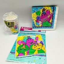 Vintage Barney Birthday Party Ware Baby Bop BJ Cups Napkins Loot Treat Bags 1995 - $22.00