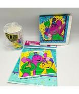 Vintage Barney Birthday Party Ware Baby Bop BJ Cups Napkins Loot Treat B... - $22.00