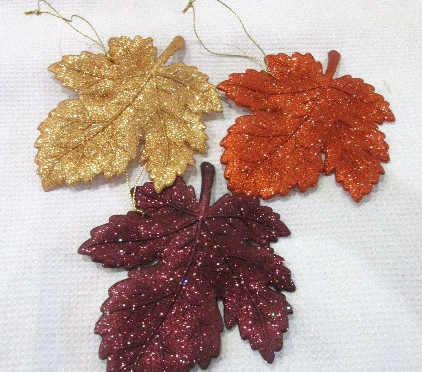 Primary image for (3) Fall Thanksgiving Glitter Maple Leaf Leaves Ornaments Decoration Decor