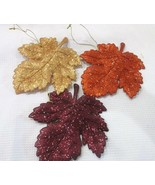 (3) Fall Thanksgiving Glitter Maple Leaf Leaves Ornaments Decoration Decor - $21.99