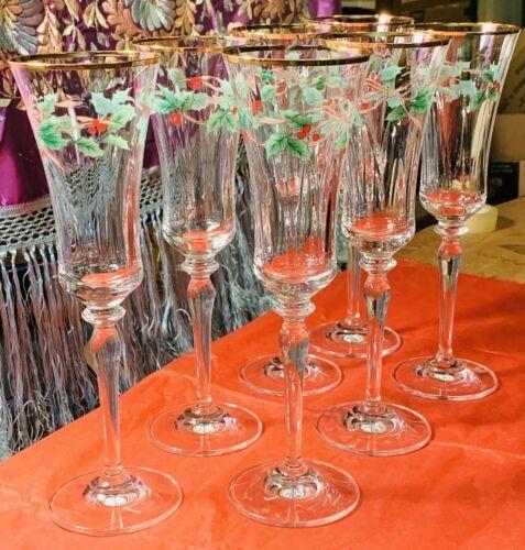 Mikasa Ribbon Holly Crystal Champagne Flute(s) #T2722