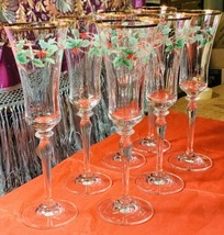 Mikasa Ribbon Holly Crystal Champagne Flute(s) #T2722  - $24.00