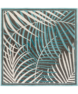 "8' Square (7'6"") Tropical Coastal Palm Flatwoven Indoor Outdoor Aqua Are... - £152.98 GBP"