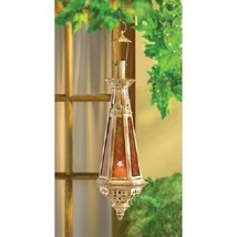 Moroccan Lantern Candle Hanging Candleholder Amber Glass Medieval Lamp D... - $34.53