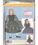 "Simplicity Daisy Kingdom #4808-Child's Dress & Doll Clothes 18"" Doll Sz 3-6 - $4.95"