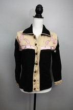 Storybook Knits Cardigan Sweater Sz XS Womens Cowboy Western Black Beige... - $23.51