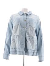 Isaac Mizrahi TRUE DENIM Jean Jacket Pockets Bleached Indigo 20W NEW A292091 - $41.56