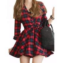 Sexy Red Black Plaid Women Mini Dress - $25.52