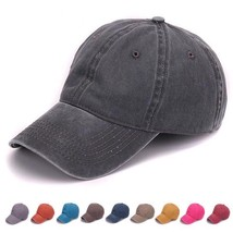 Plain Dyed Sand Washed Cap 100% Soft Cotton Summer Baseballcap Unisex Hat - $15.04