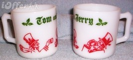 Hazel Atlas GLASS-- Tom And Jerry Punch Christmas Cheer Punch Cups / Mugs - $14.95
