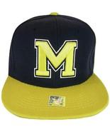 Michigan M Adjustable Snapback Baseball Cap (Gold/Navy) - $13.49