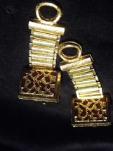 Vintage Pair Gold Tone Dante Inlay Cufflinks Costume Fashion Jewelry - $10.66