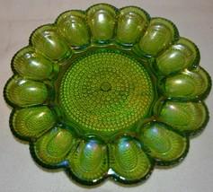 Indiana Carnival Glass Deviled Egg Platter Plate Green  - $42.06