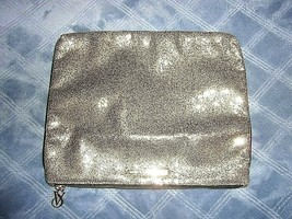 Victoria's Secret Makeup Cosmetic Bag Gold Logo Sparkle Zip Closure 12''... - $13.14