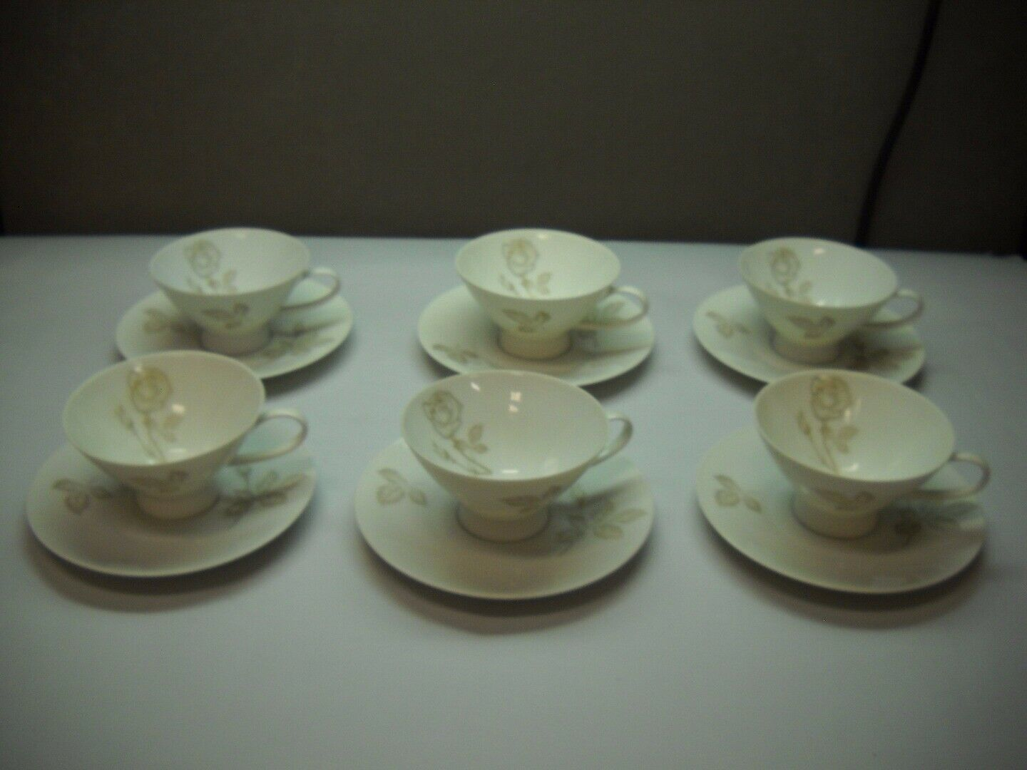 Primary image for SET OF 6 Teacups and SAUCERS from ROSENTHAL Classic Rose RAYMOND LOEWY