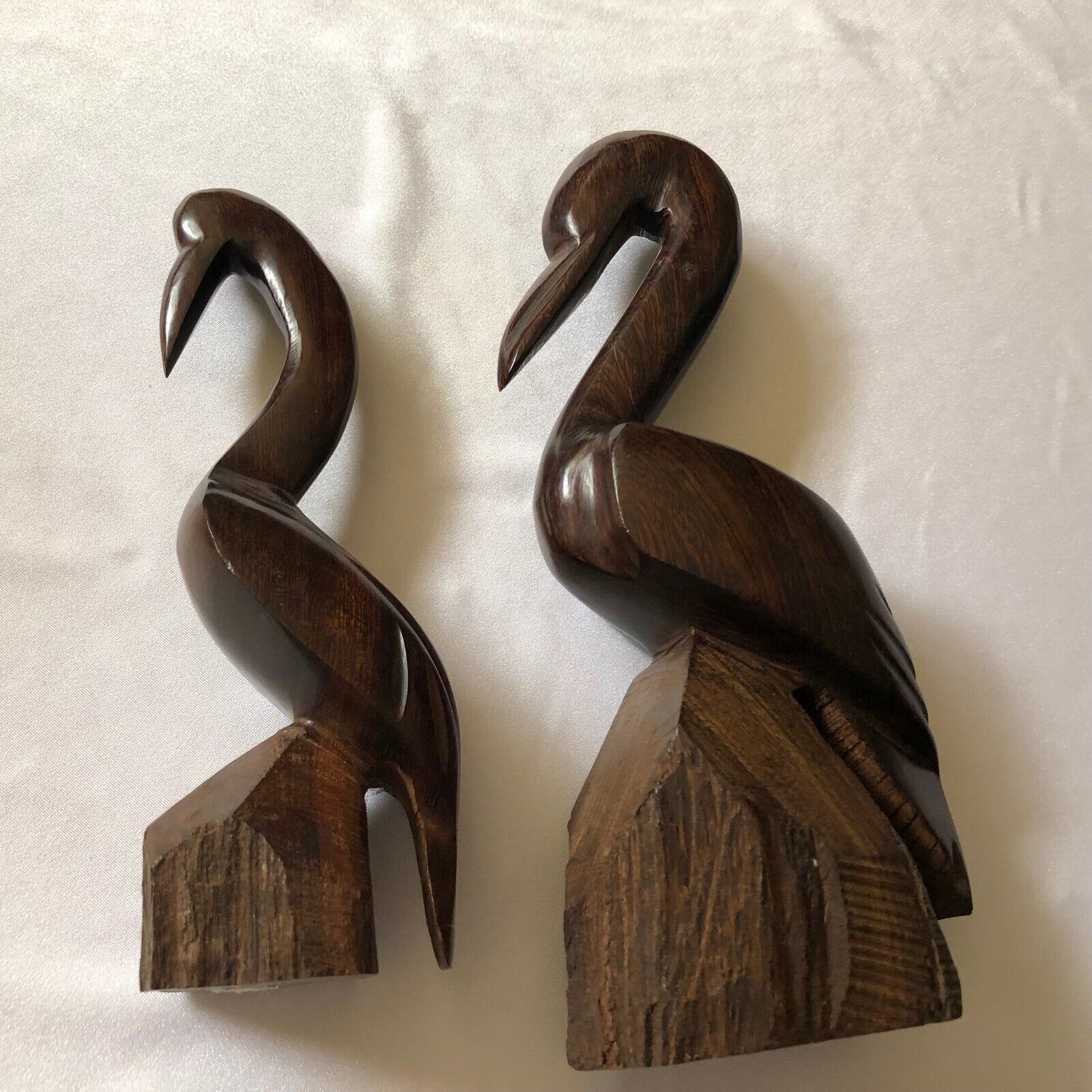 Set of 2 Pelican Wood Carving Ironwood Statue Figurines