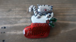 Vintage Enamel AJMC Christmas Cat Brooch - $8.90