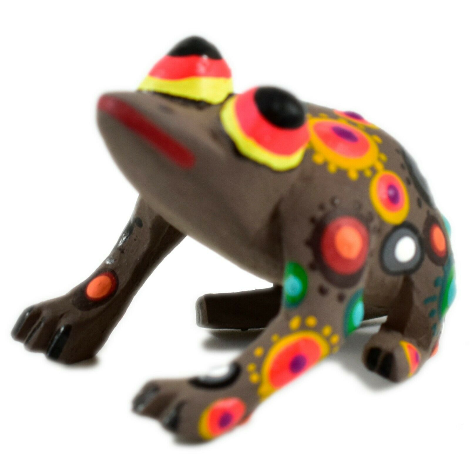 Handmade Oaxacan Copal Wood Carving Painted Folk Art Brown Frog Toad Figurine