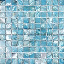 Hominter Tile Sample 3 x 12 Inches: Blue Stained Shell Tile Mosaic, Colorful Mot - $25.95