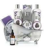Bath Gift Basket Set for Women: Relaxing at Home Spa Kit Scented with La... - £40.57 GBP