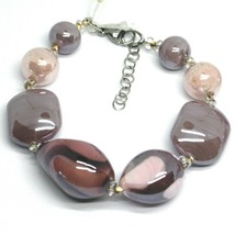 BRACELET PINK PURPLE ROUNDED DROP, SPHERE, EXAGON MURANO GLASS MADE IN ITALY image 1