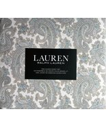 Ralph Lauren Beige Blue Lavender Tan Paisley on White Sheet Set Queen - $121.00