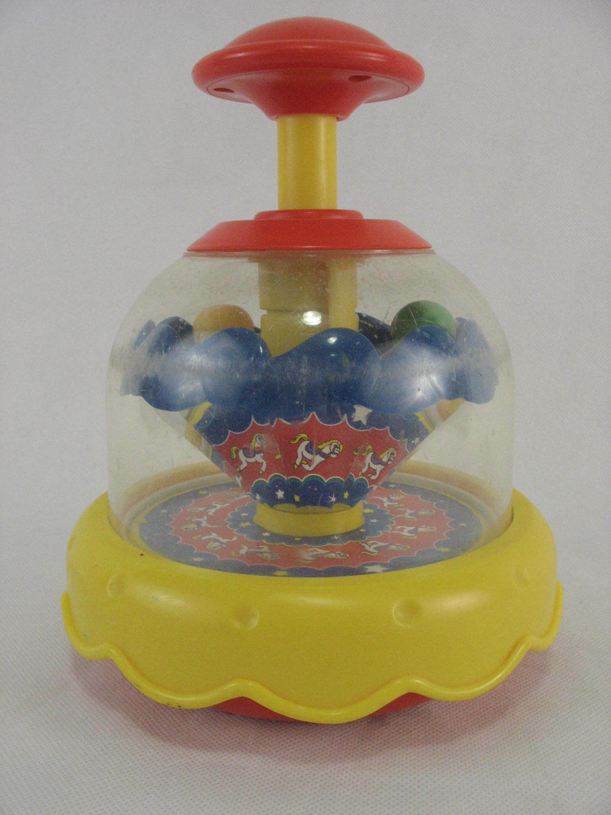 Primary image for Blue Box Vintage Toddler Push Top Spin Toy Circus Carousel Horse