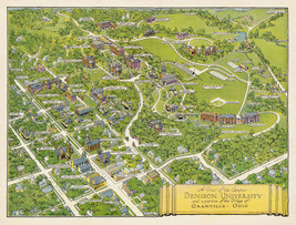 1932 Pictorial Map Princeton University And 50 Similar Items