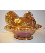 """Mosser Glass AMBER CARNIVAL 8.5"""" TURKEY ON NEST BASKET Covered Candy Dish - $72.70"""