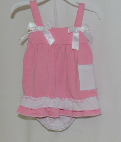 I Love Baby Pink White Sun Dress Ruffle Bloomers Size 90cm 2 to 3 Year Old