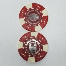 Harley Davidson Poker Chip Savannah On River St. H-D, GA Red/White Colle... - $6.78