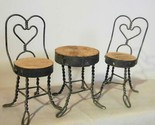 Vintage Doll House Soda Fountain Set Table and 2 Chairs Wire and Wood
