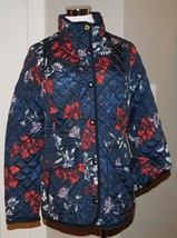 NEW JOULES NEWDALE NAVY FLORAL PRINT QUILTED JACKET SLIMMING COAT WOMENS... - $36.10