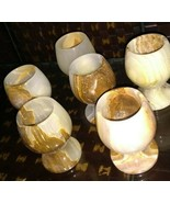 Goblets Shots Wine Glass Onyx-Marble-Stone-Wine-Cup 6 pc - $95.00