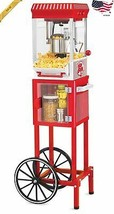 Nostalgia Electrics Popcorn Cart Machine Popper Maker Vintage Red Stand - $157.89