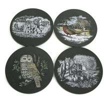 Vintage Slate Coasters | Set of 4 | Owl - Draft Horse - Game Bird - Plow... - $15.79
