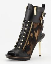 Michael Kors Ankle Black Camouflage Peep-Toe Boots Booties 37.5 Gold Heel - $312.81