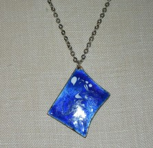 Vintage Copper Blue White Swirl Enamel Pendant Necklace Artist Signed - $13.86