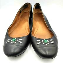Coach Black Leather Flats Silver Studs Faux Malachite Stone SZ 6B Women's - $18.37