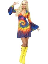 Smiffys 597ms Tie-Dye Hippy Años 60 Cultura Adulto Mujer Disfraz Hallowe... - $31.49