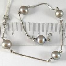 Armband Weißgold 750 18K, Perlen Grau Durchmesser 7-8 mm, Kette Venetian - $319.73