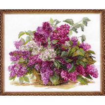 Cross Stitch Kit Hand Embroidery Flowers Lilac - $42.90