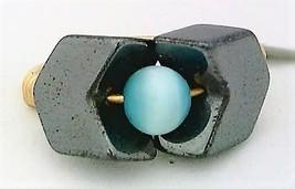 Cat Eye Hematite Chevron Gemstone Bead Wire Wrap Ring - $10.08