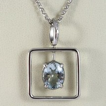 18K WHITE GOLD NECKLACE, OVAL CUT AQUAMARINE 1.80 ct PENDANT WITH SQUARE FRAME image 1