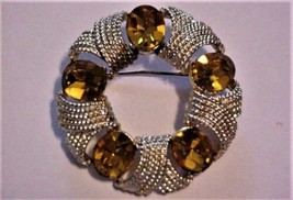 Gorgeous Amber Glass Stones COROCRAFT Vintage Brooch Pin  - £30.52 GBP