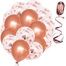 Rose Gold Confetti Balloons - Large 18 Inch - 16 Pcs Bundled with Ribbon... - $32.22